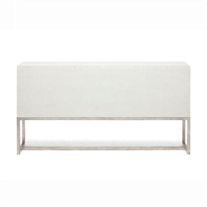 Dallon Three Door Buffet in Snow Faux Shagreen and Silver back