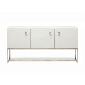 Dallon Three Door Buffet in Snow Faux Shagreen and Silver