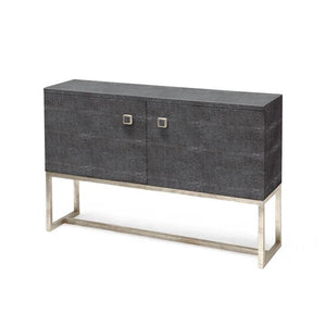 made goods dallon two door cabinet faux grey shagreen and silver angle