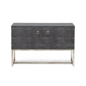 made goods dallon two door cabinet faux grey shagreen and silver