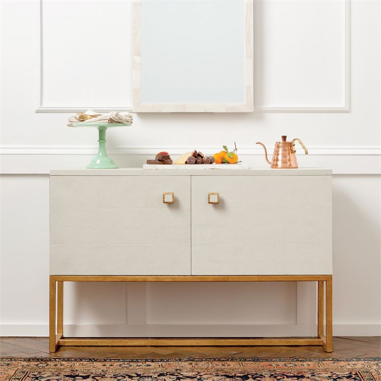 made goods two door dallon cabinet snow realistic faux shagreen with gold styled