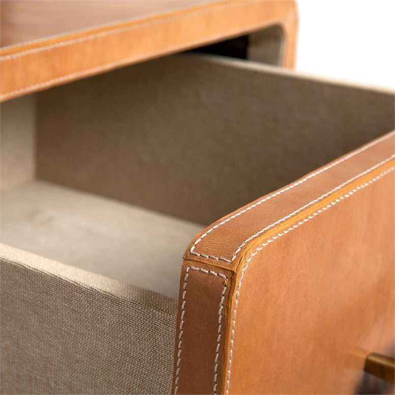 made goods dante camel leather drawer open