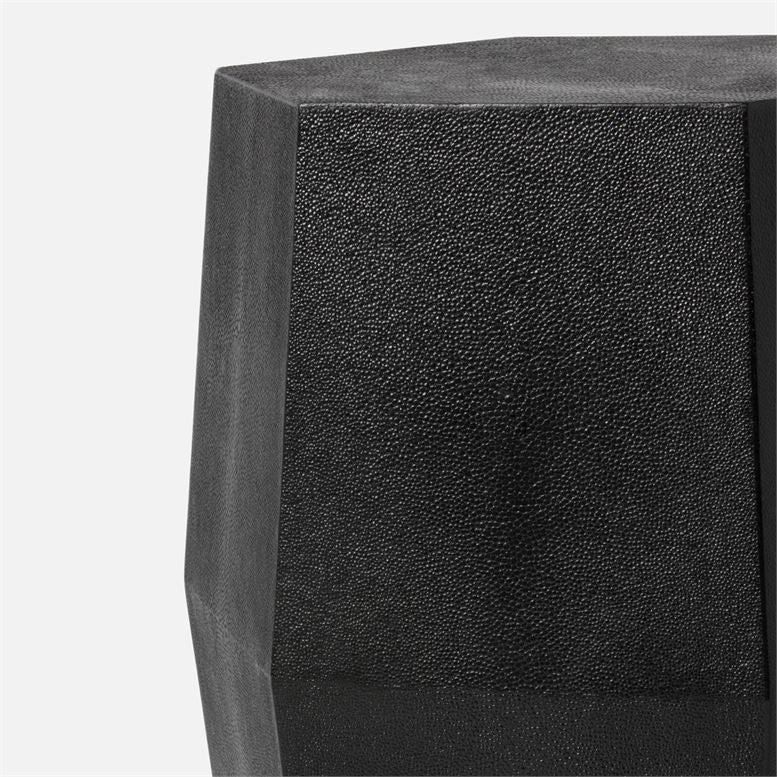 made goods daryl stool black faux shagreen detail