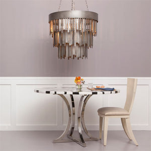 made goods douglas chandelier aged silver metal strips lighting chandelier hanging light fixture