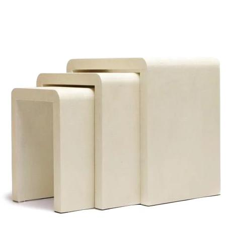 made goods harlow nesting tables ivory set of 3 faux shagreen side table
