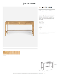 "made goods isla console 48"" tearsheet"