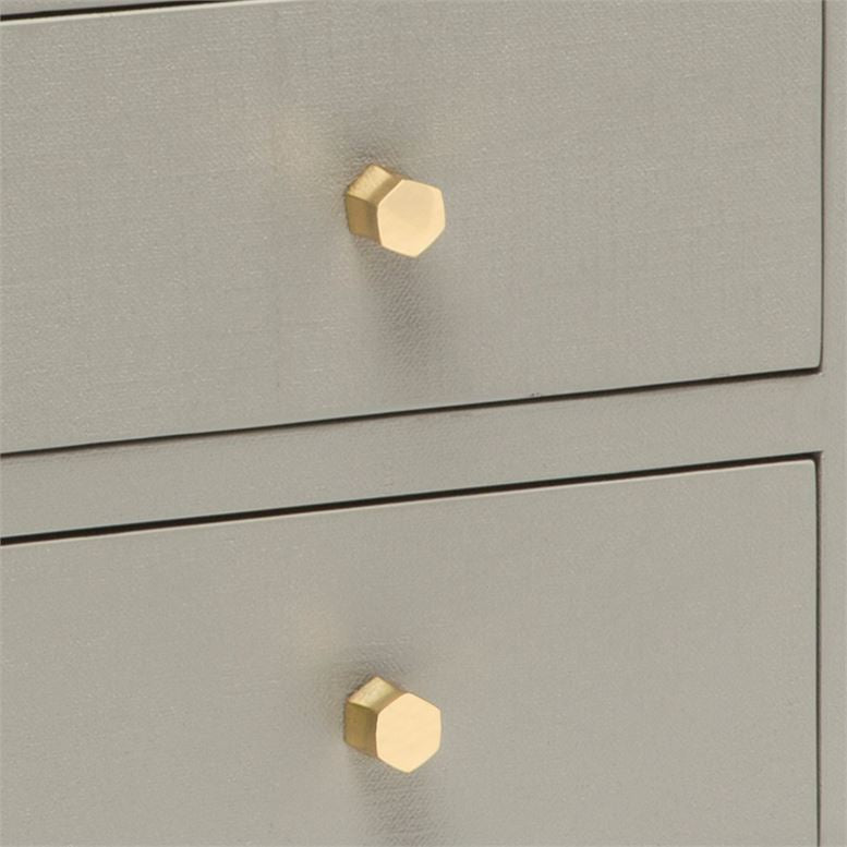 Made Goods Jarin Double Nightstand Grey Linen Gold Drawer