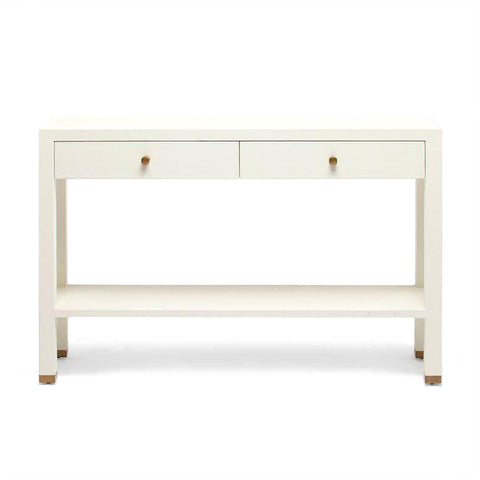Made Goods Jarin Narrow Console White Faux Belgian