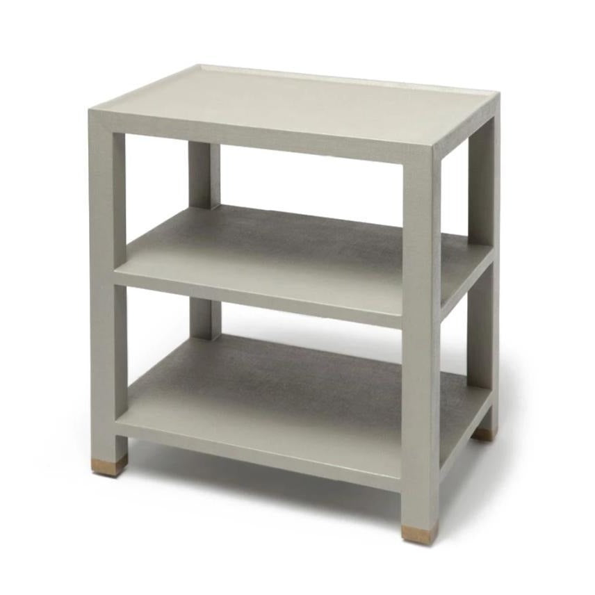 Made Goods Jarin Side Table Grey Faux Belgian Linen side