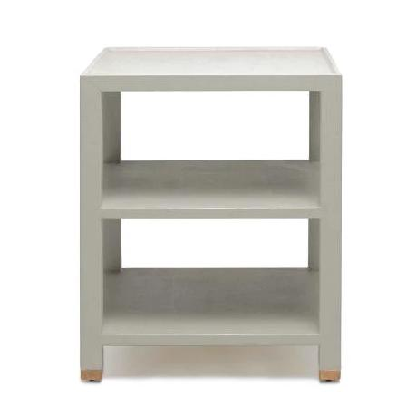 Made Goods Jarin Side Table Grey Faux Belgian Linen larger