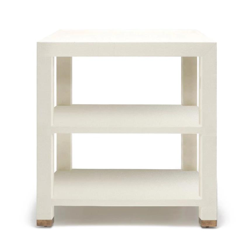 Made Goods Jarin Side Table White Faux Belgian Linen larger