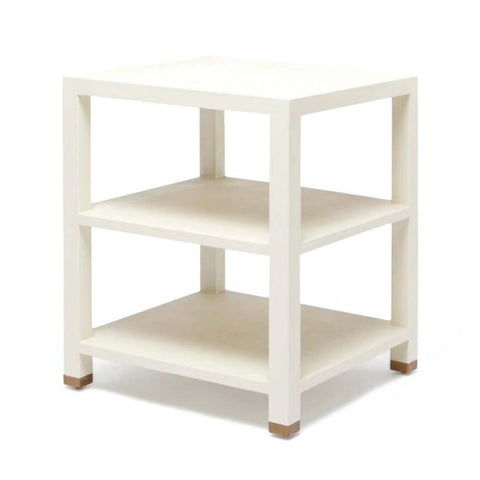 Made Goods Jarin Side Table White Faux Belgian Linen