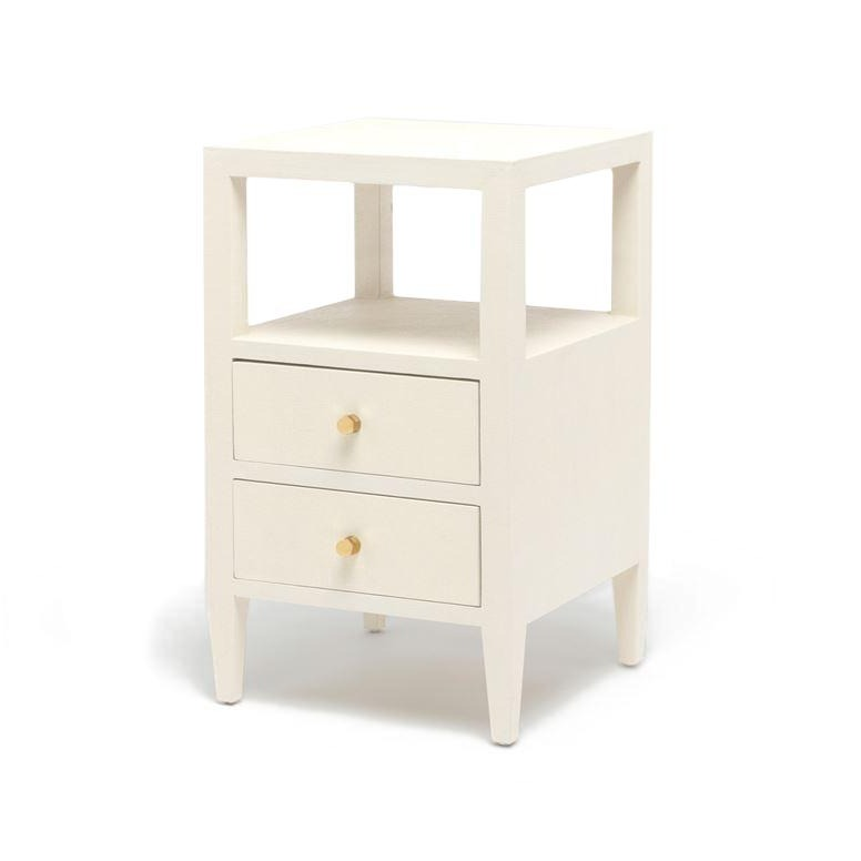 Made Goods Jarin Single Nightstand White Linen Gold Drawers