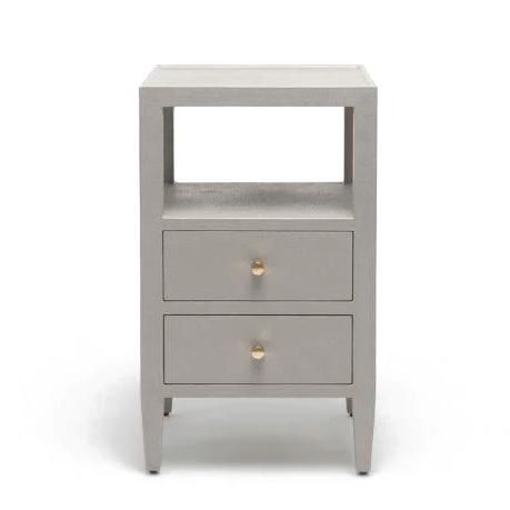 Made Goods Jarin Single Nightstand Grey Linen Gold DrawersD