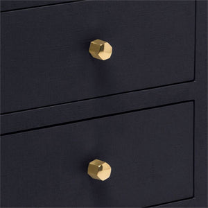 Made Goods Jarin Single Nightstand Navy Linen Gold