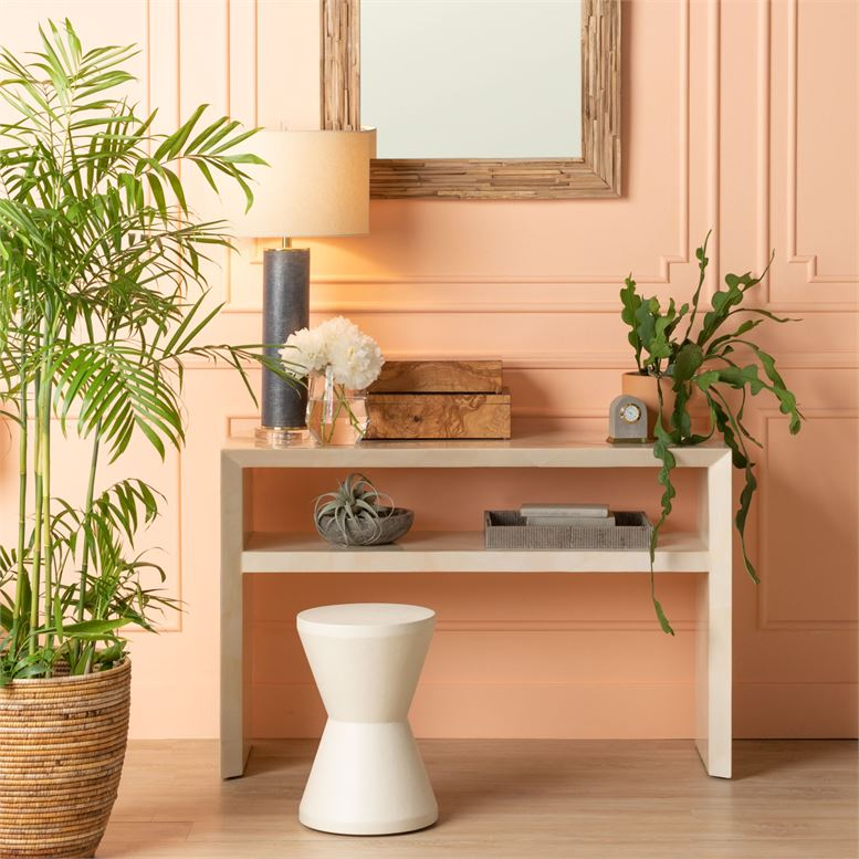 made goods jozlyn narrow console ivory faux horn styled