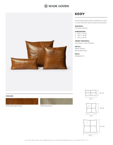 made goods kody pillow set strom leather tearsheet