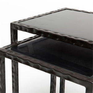 black nesting side table surface twisted iron
