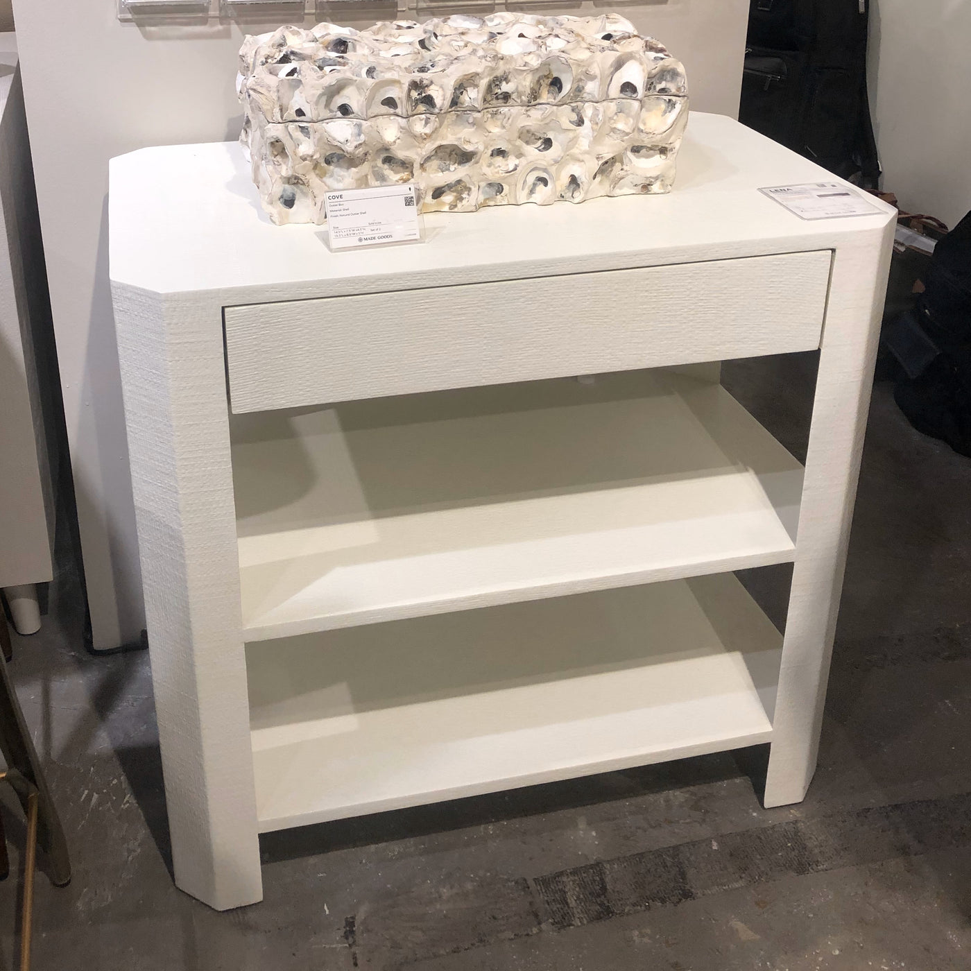 made goods lena double nightstand pristine drawer showroom