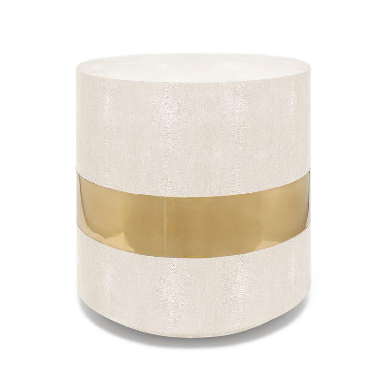 made goods maxine side table brass snow faux shagreen furniture MG MAXINE SIDE TABLE BRASS SNOW