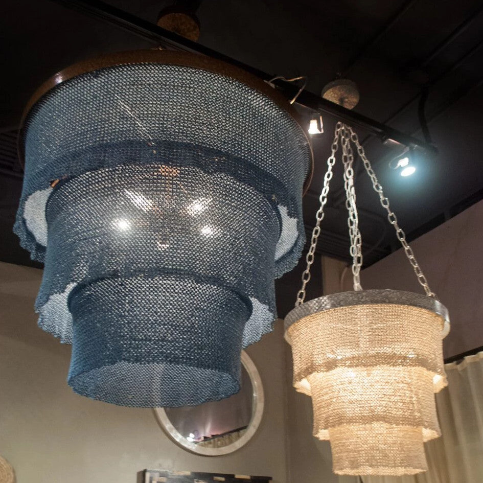 Patricia Chandelier Dusty Blue and Gold