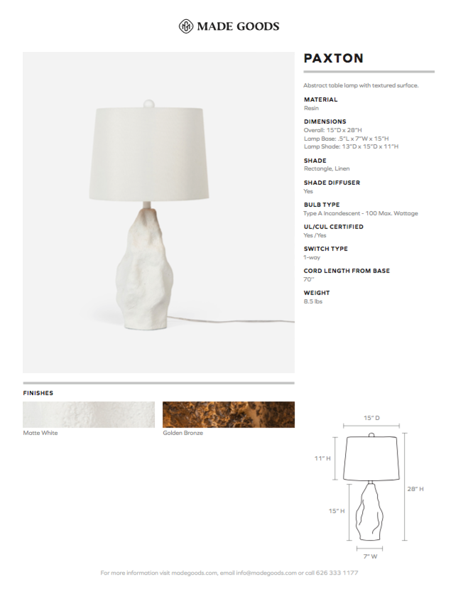made goods paxton lamp matte white tearsheet