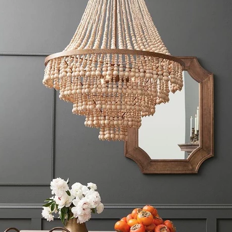 PIA LARGE (gold) made goods pia large chandelier wood beads lighting hanging light fixture