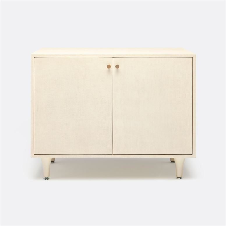 made good ramon two door buffet off white faux raffia front