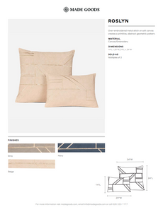 made goods roslyn square pillow navy tearsheet