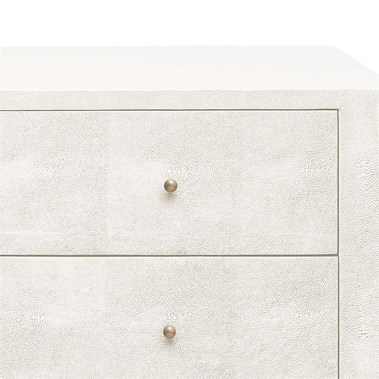 Sorin 3 Drawer Double Nightstand Pristine Faux Shagreen