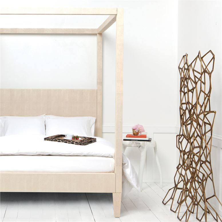 Sorin Bed Off White Faux Shagreen