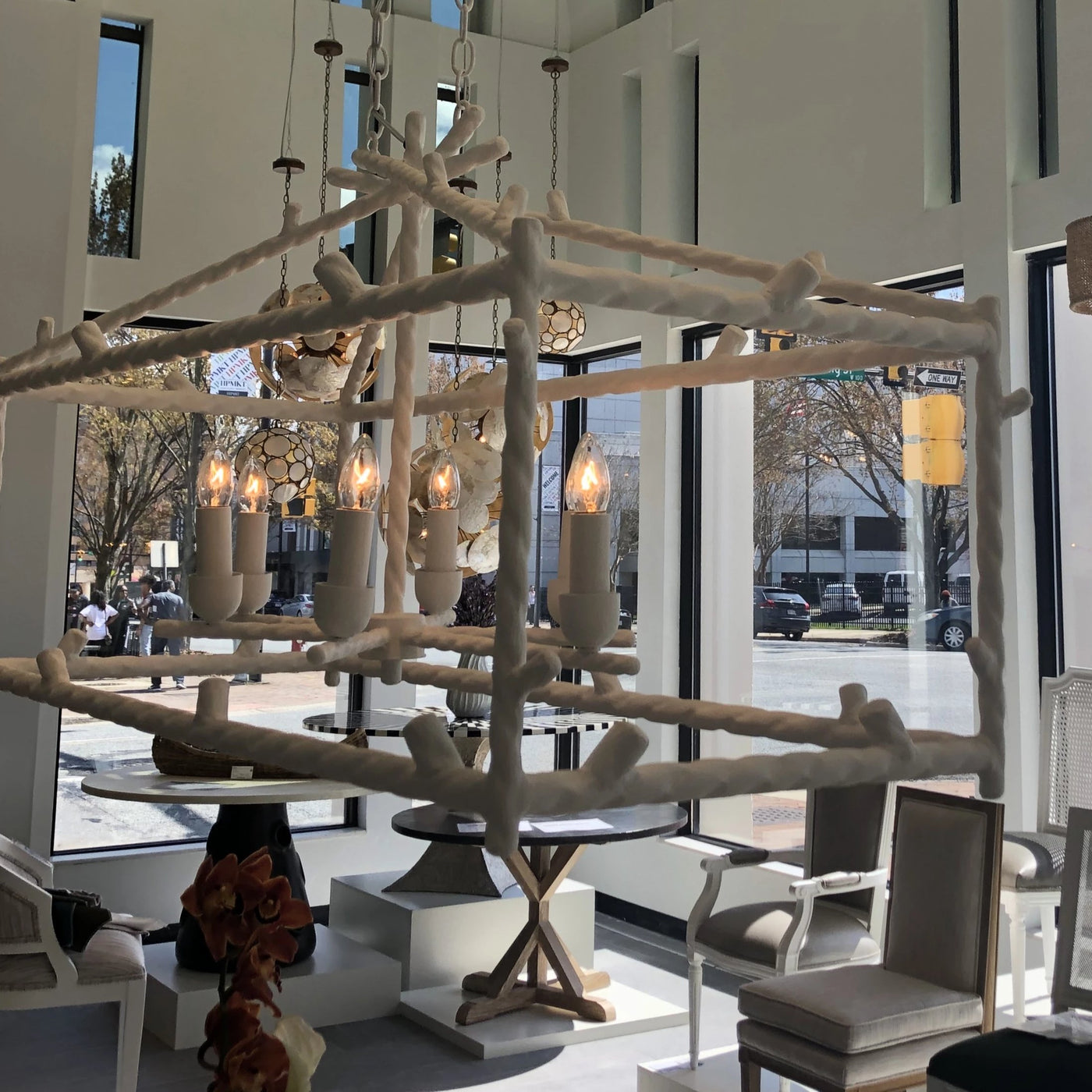 made goods Trina twig chandelier rectangle white showroom