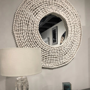 Made Goods Jena Wall Mirror White wood round mirror showroom
