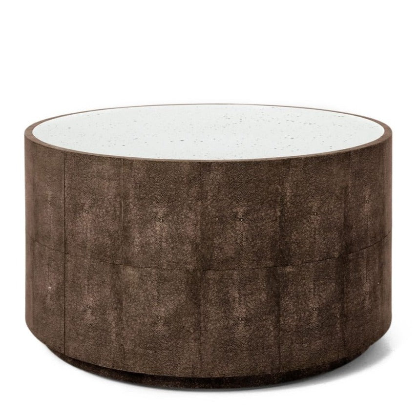 made goods cara shagreen cocktail table dark mushroom antiqued mirror top coffee table