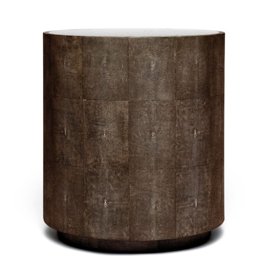 made goods cara shagreen side table dark mushroom side table mirrored top side table modern side table