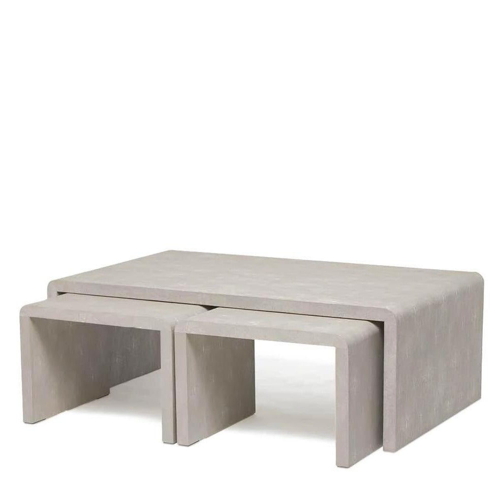 made goods harlow nesting coffee table ivory shagreen side