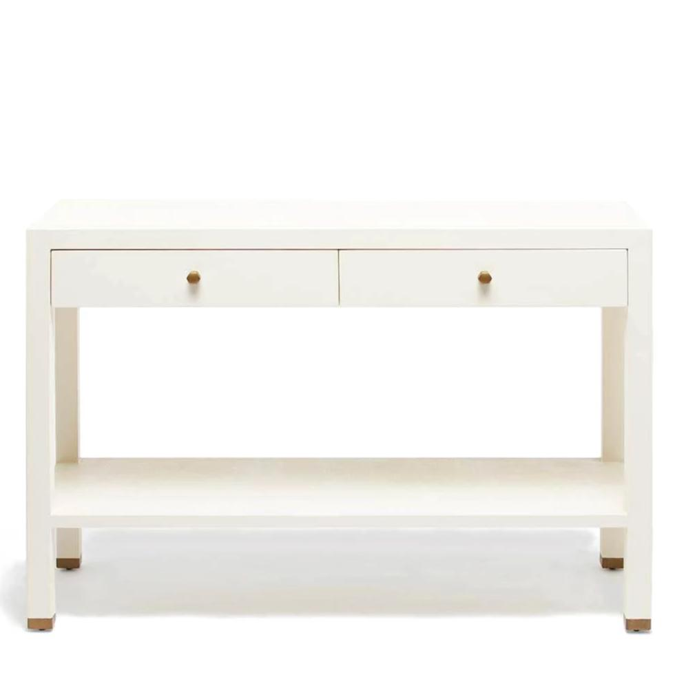 made goods jarin console white faux belgian linen