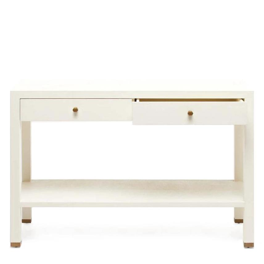 made goods jarin console white faux belgian linen open drawer