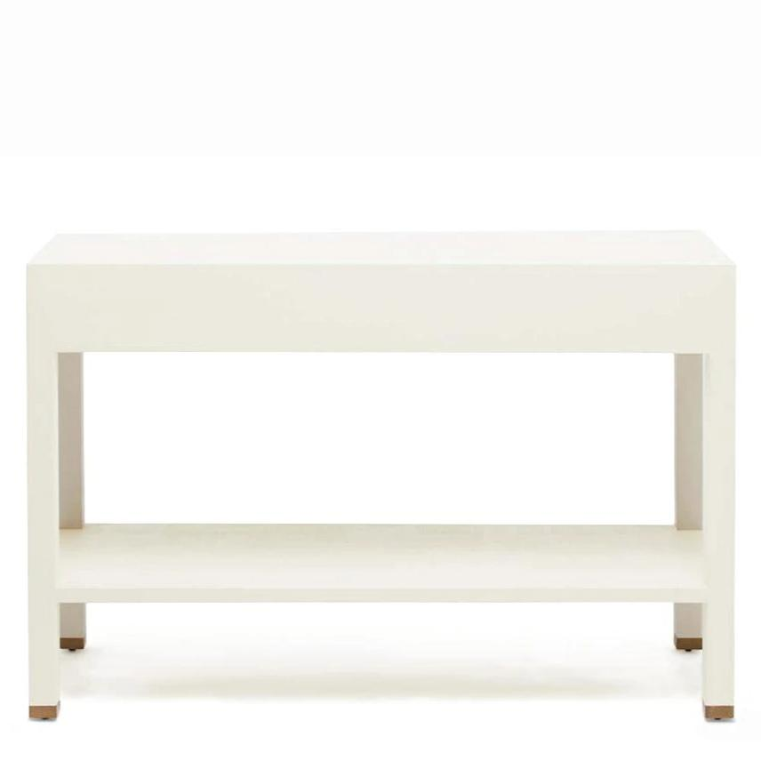 made goods jarin console white faux belgian linen back