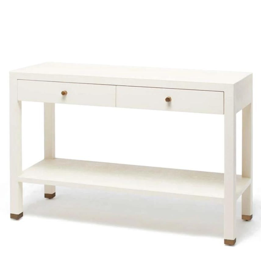 made goods jarin console white faux belgian linen side