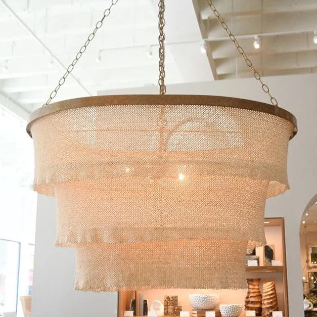 made goods Patricia oval chandelier gold band cream
