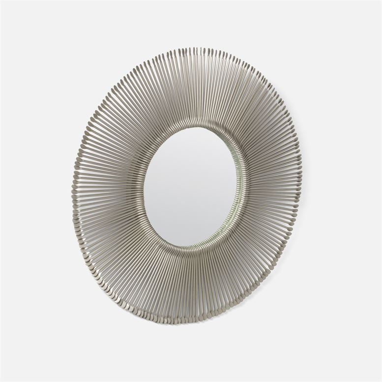Dawn Mirror Antiqued Silver Iron Small