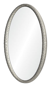 mirror image home jamie drake oval wood carved mirror silver leaf side