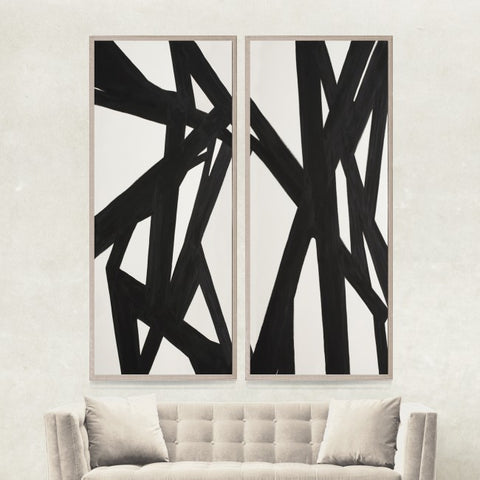 natural curiosities abstract black and white panel pair styled