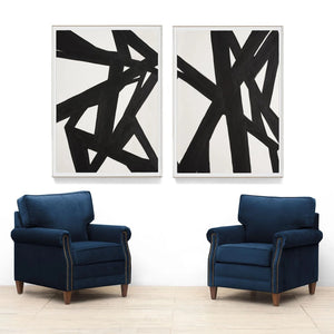 Natural Curiosities Black & White Abstract Painting 1 Artwork Room View