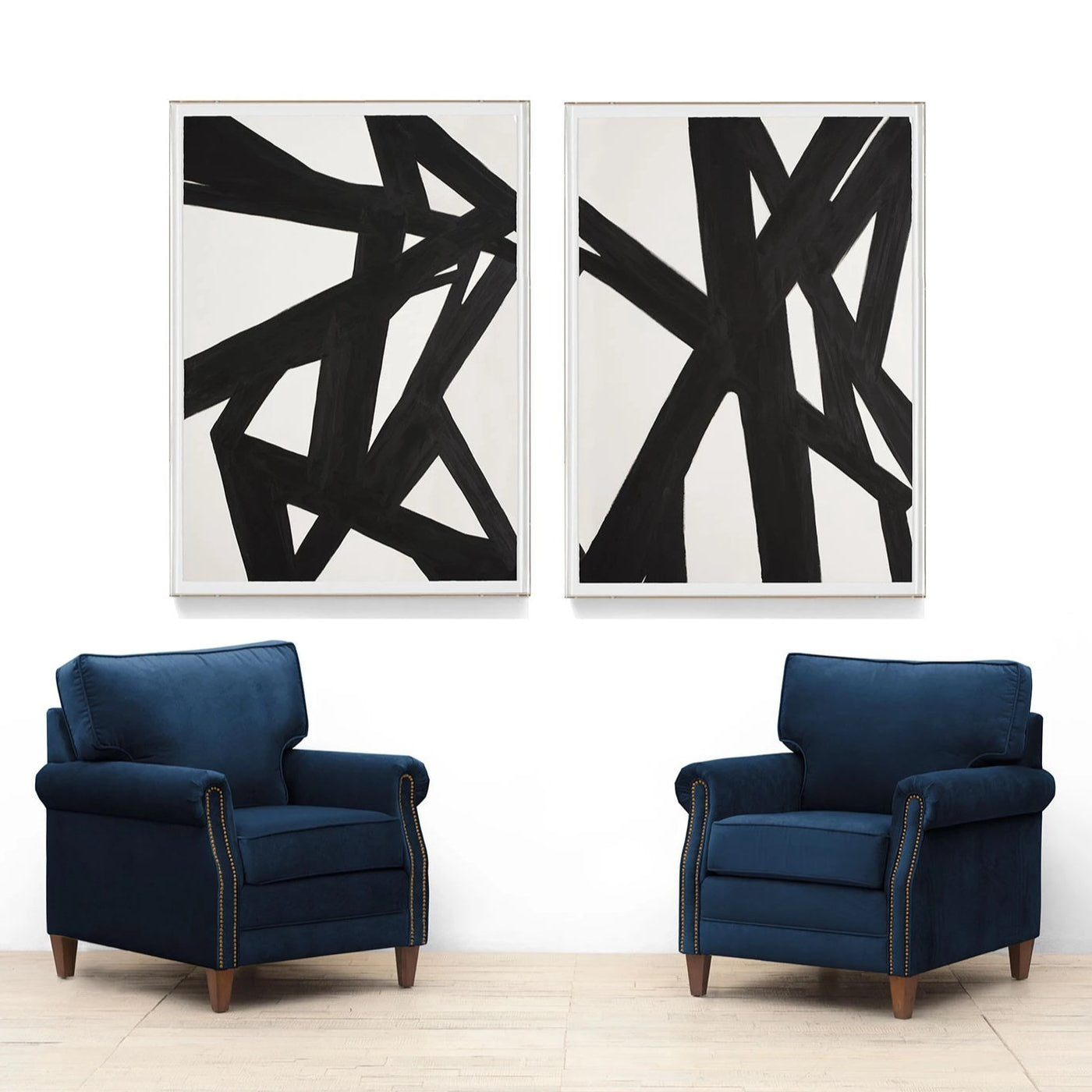 Natural Curiosities Black & White Abstract Painting 2 Artwork Room View