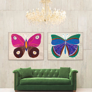 Natural Curiosities Paule Marrot Butterfly Pink Artwork Room View