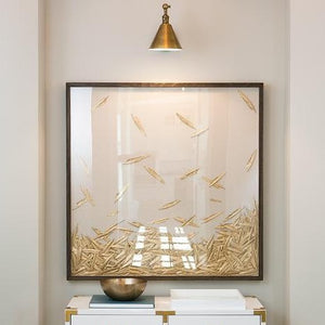 natural curiosities golden feathers artwork square framed