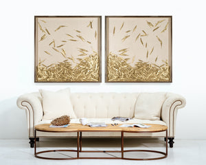 Natural Curiosities Golden Feathers Artwork Room View