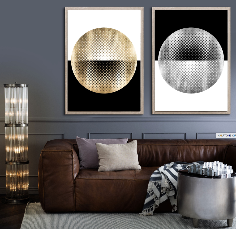 natural curiosities halftone circles in room fine art large gold